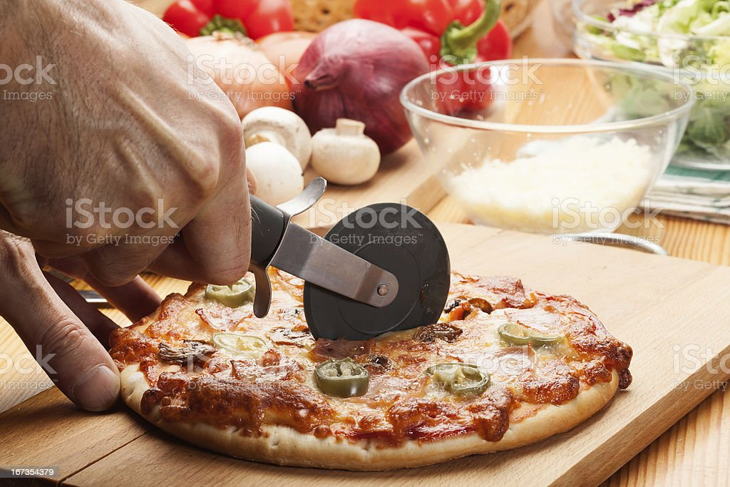 Pizza with jalapeno pepper royalty-free stock photo