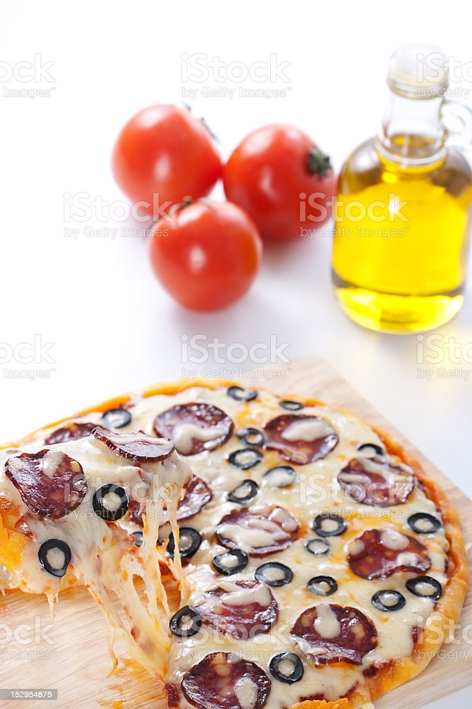 Pizza with melted cheese royalty-free stock photo