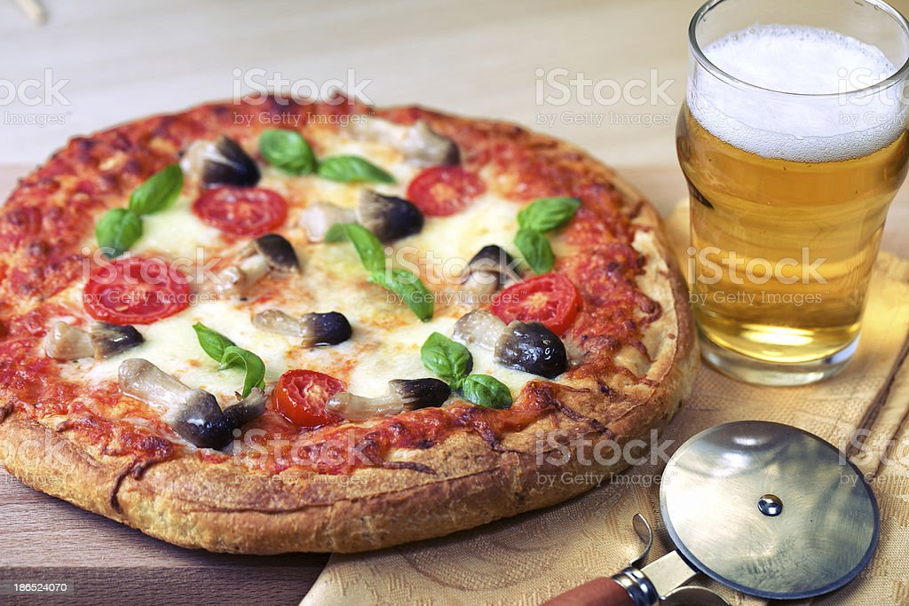 Pizza with mushrooms royalty-free stock photo