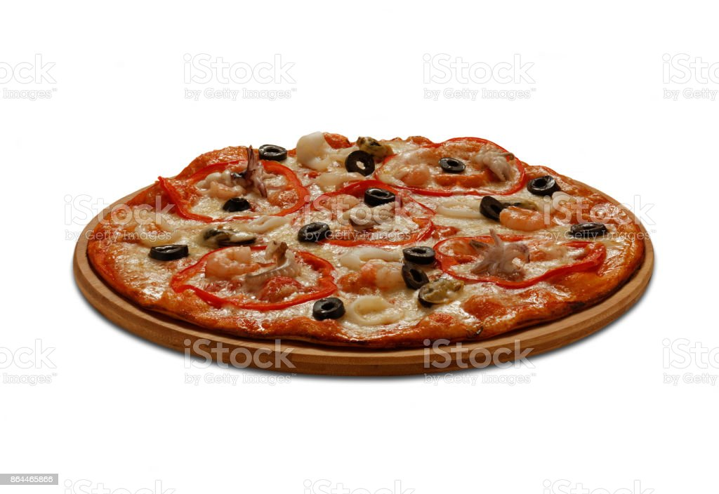 Pizza with mussel, calmars, shrimps and octopus. On white background stock photo