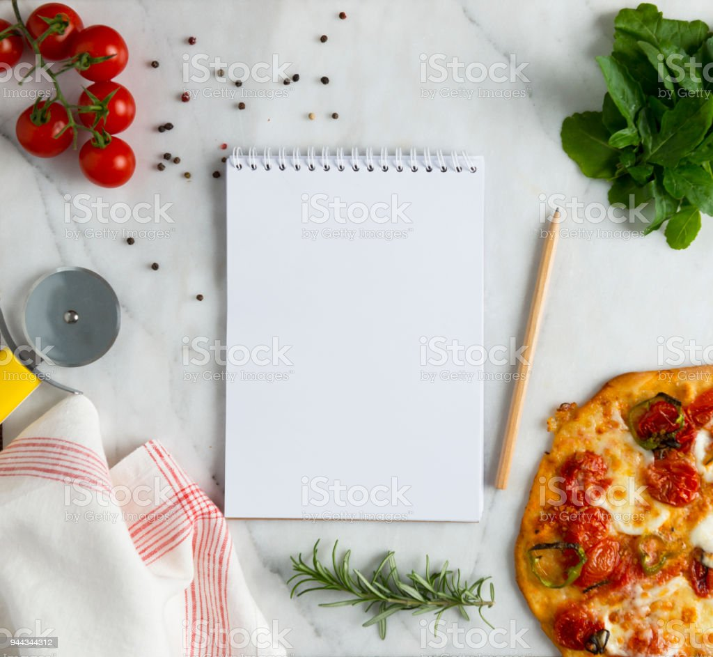 Pizza with notebook