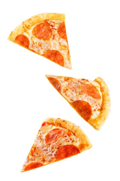 Pizza with pepperoni, tomato sauce and cheese isolated stock photo
