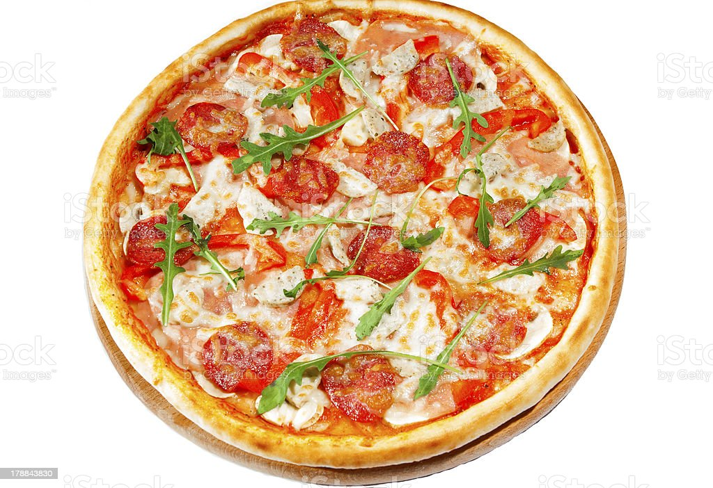 Pizza with pepperoni,vitchyna, bavarian sausages  on wooden stan royalty-free stock photo