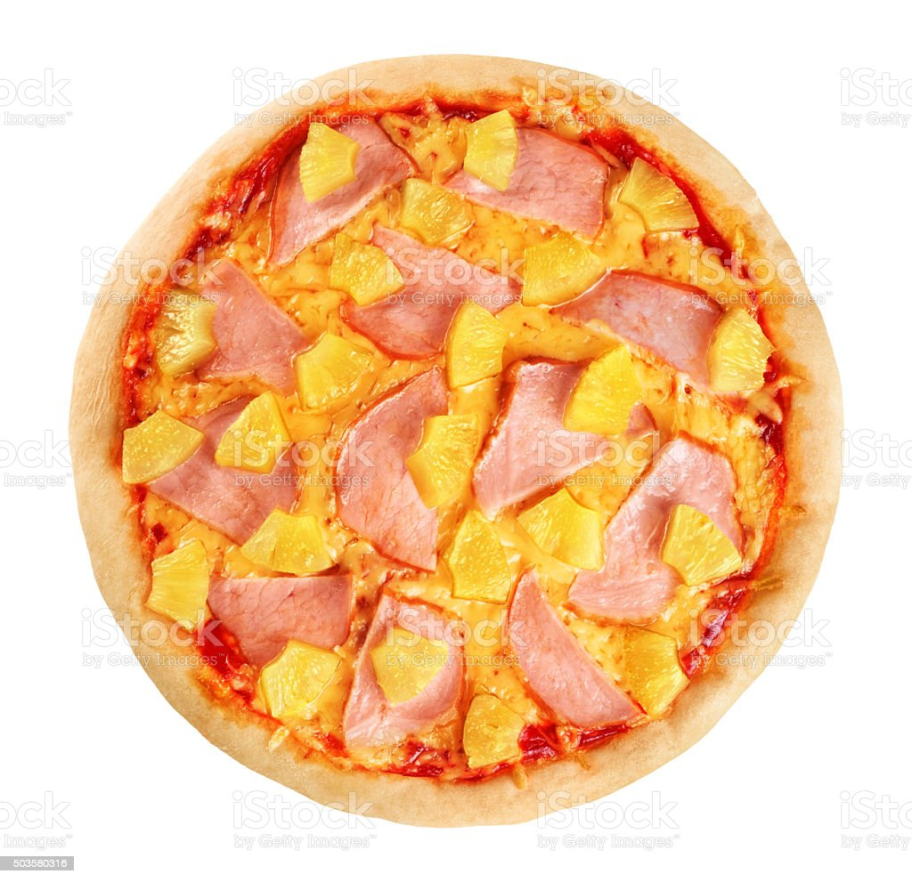 Pizza with pineapple and ham on white background. stock photo