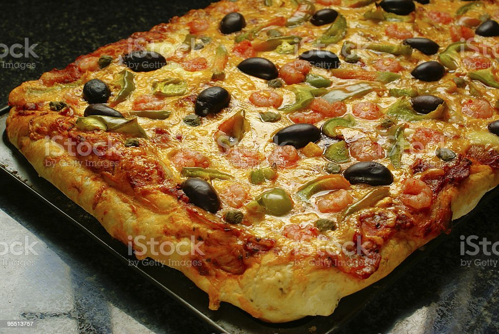 Pizza with prawns royalty-free stock photo