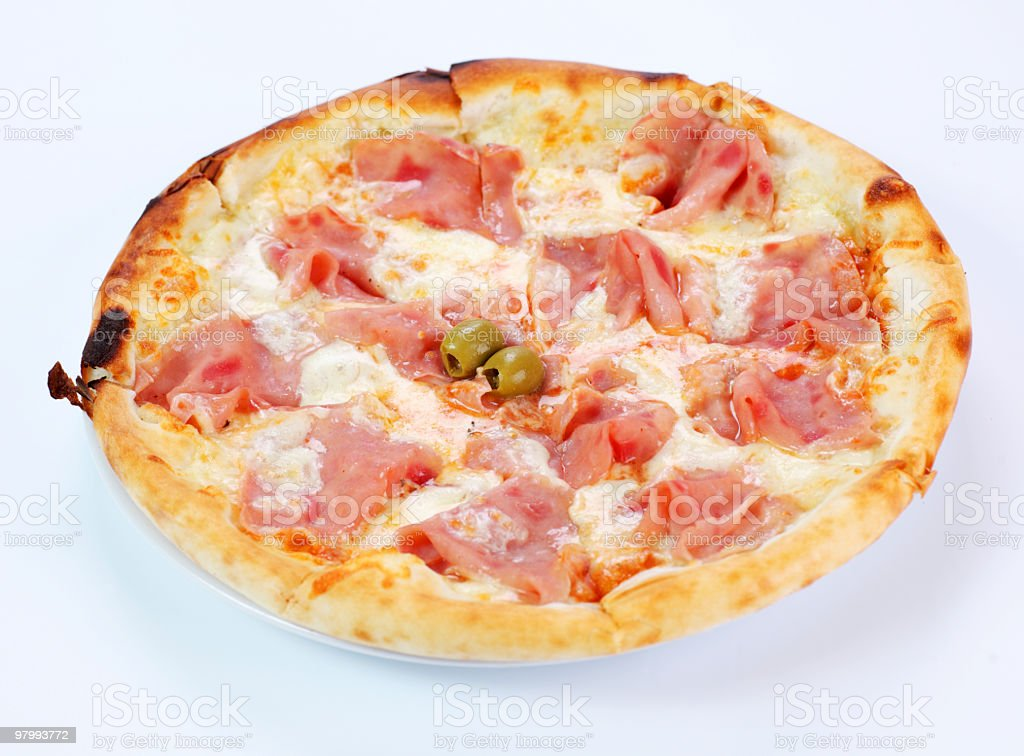 Pizza with sausage royalty-free stock photo