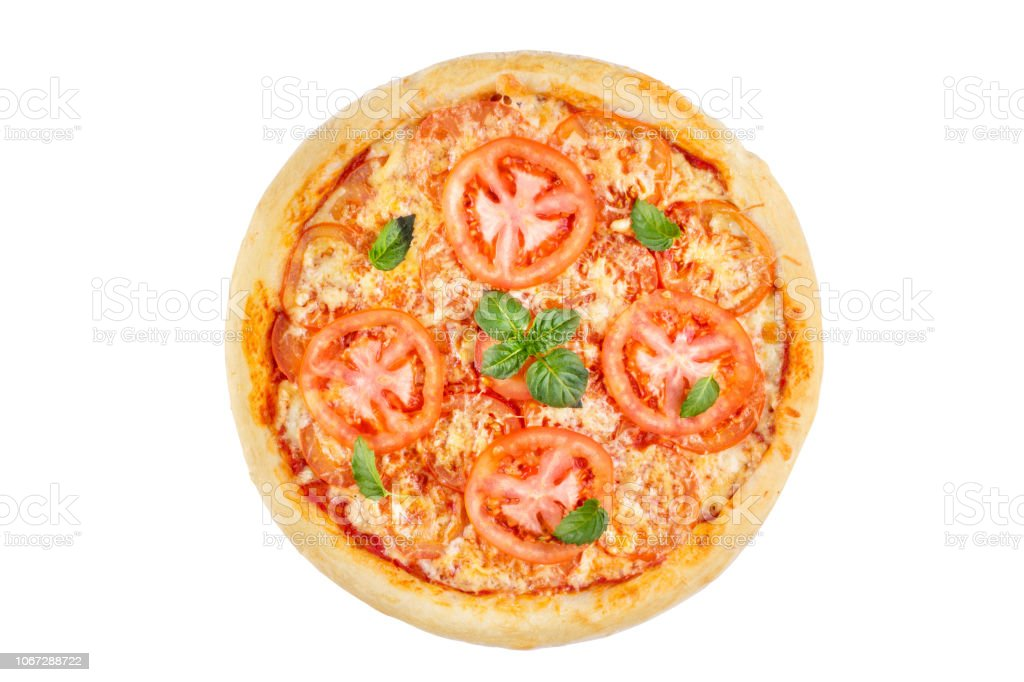 Pizza with tomato and basil on white background. View from above. stock photo
