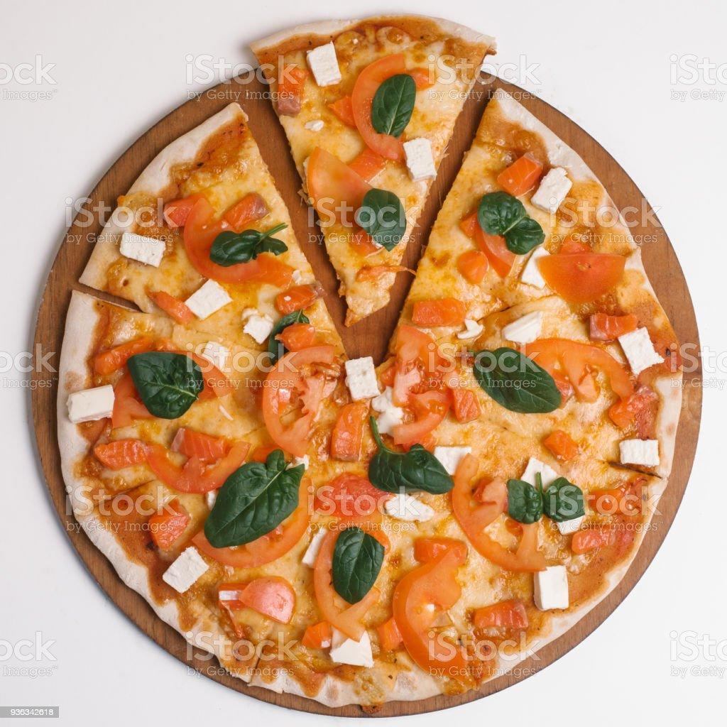 Pizza Mit Tomatensauce Senfsauce Mozzarella Schinken Wurstchen