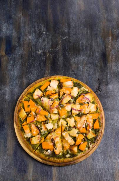 pizza with vegetables and meat - pumpkin pie стоковые фото и изображения
