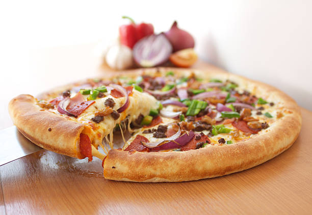 Pizza with Vegetables and Meat stock photo