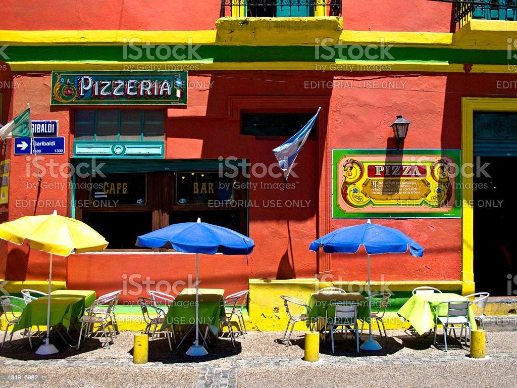 Pizzeria, Caminito, bairro La Boca em Buenos Aires, Argentina foto royalty-free