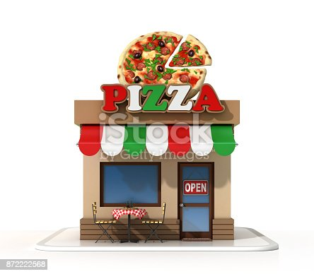 istock Pizzeria on a white background 3d rendering 872222568