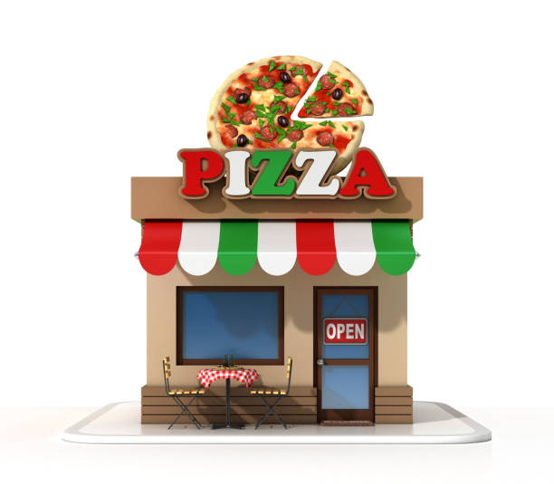 Pizzeria on a white background 3d rendering stock photo
