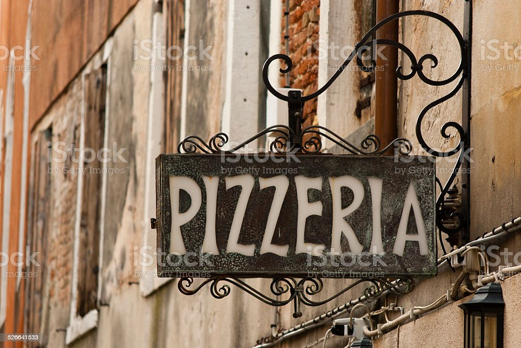 Pizzeria sign stock photo