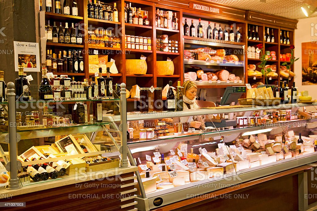 Pizzicheria (delicatessen) stall at the Mercato Centrale, Florence stock photo