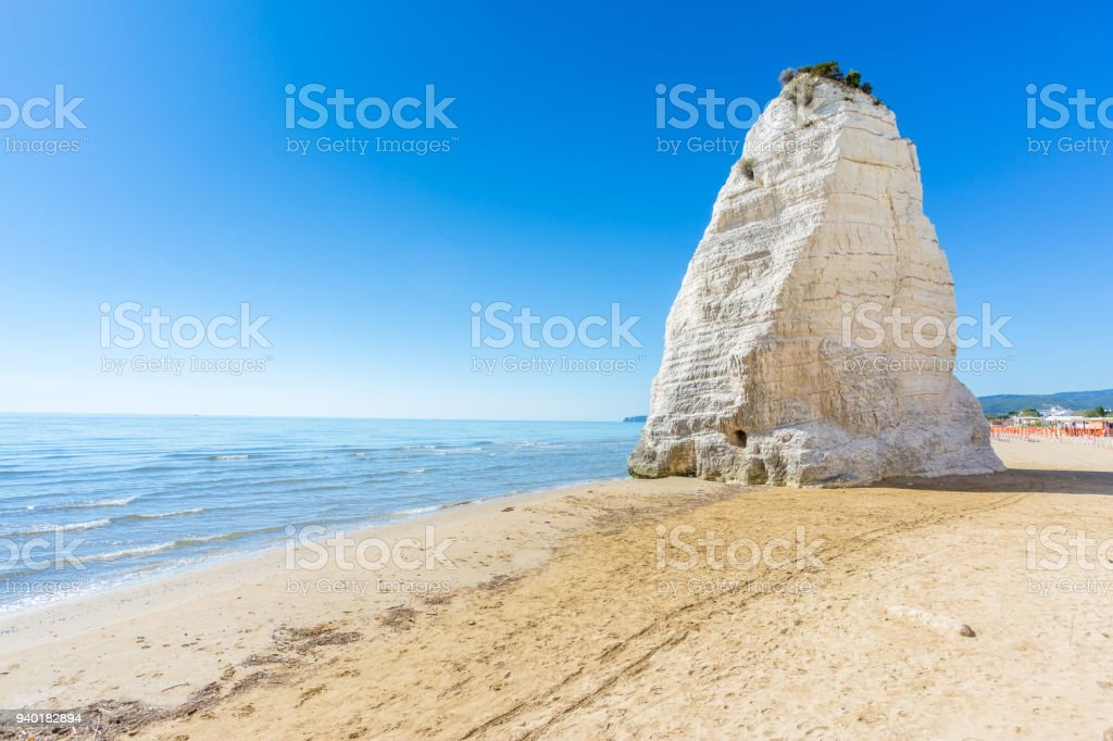 Pizzomunno rock, in Vieste, Gargano coast, Apulia, South of Italy stock photo