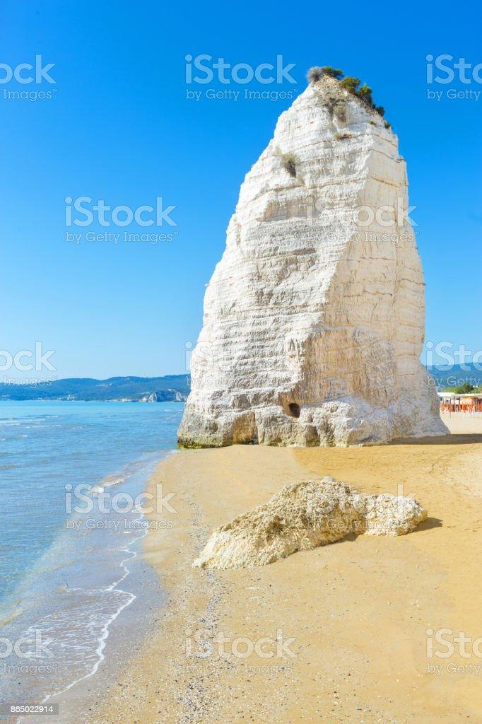 Pizzomunno rock, Vieste, Apulia, South Italy stock photo