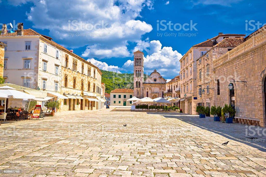 Pjaca square church in Town of Hvar stock photo