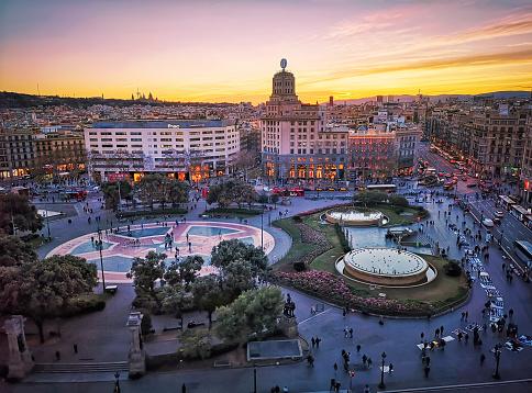 Plaça de catalunya at sunset in Barcelona. Spain