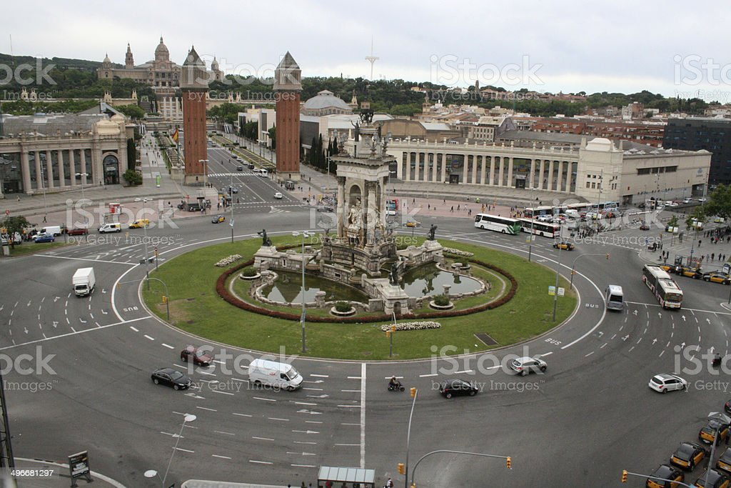 Placa de Espanya Kreisverkehr Barcelona stock photo