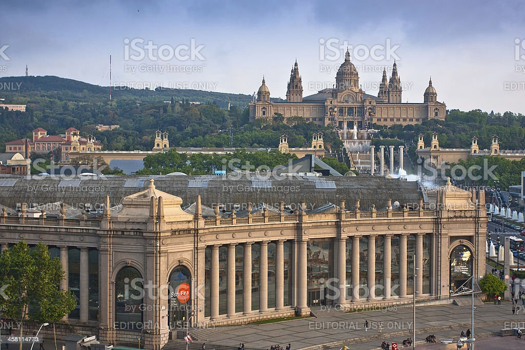 Placa De Espanya, the National Museum in Barcelona. royalty-free stock photo