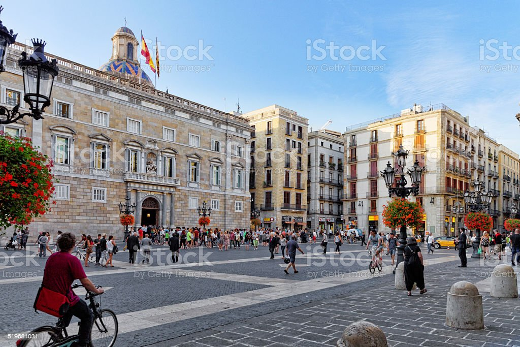 Placa de Sant Jaume.The central area of Barcelona stock photo