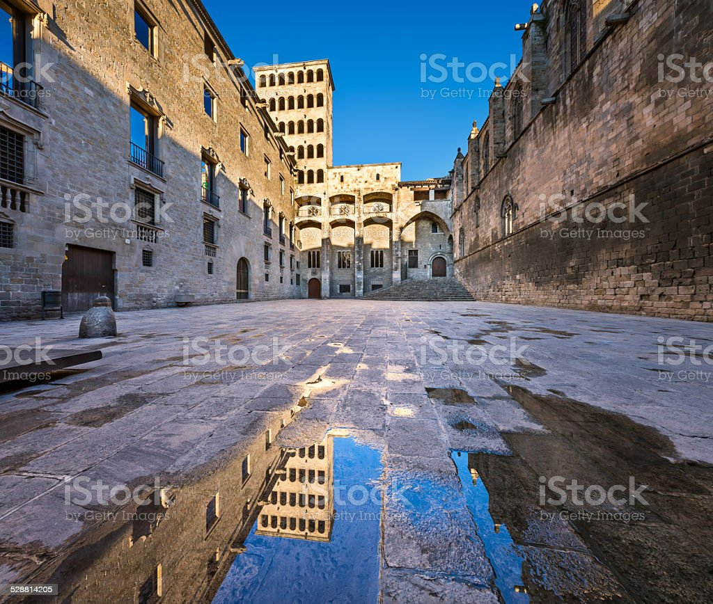Placa del Rei and Palau Reial Major in Barcelona, Catalynia stock photo