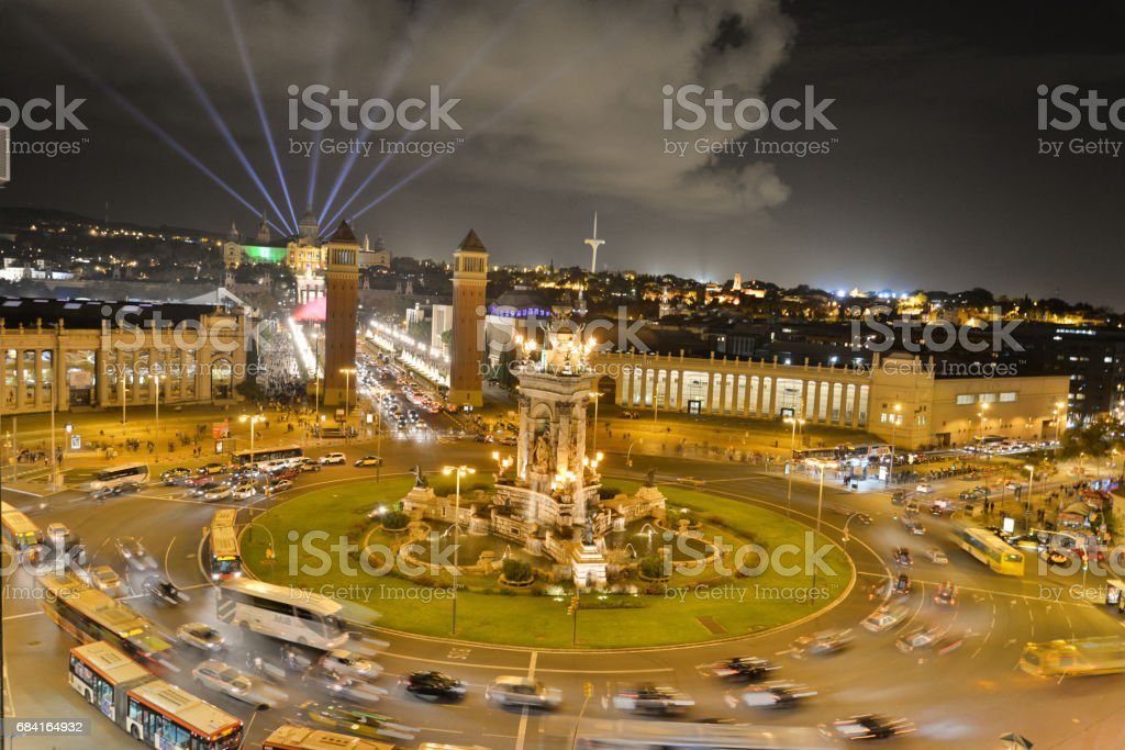Placa Espanya by night royalty-free stock photo