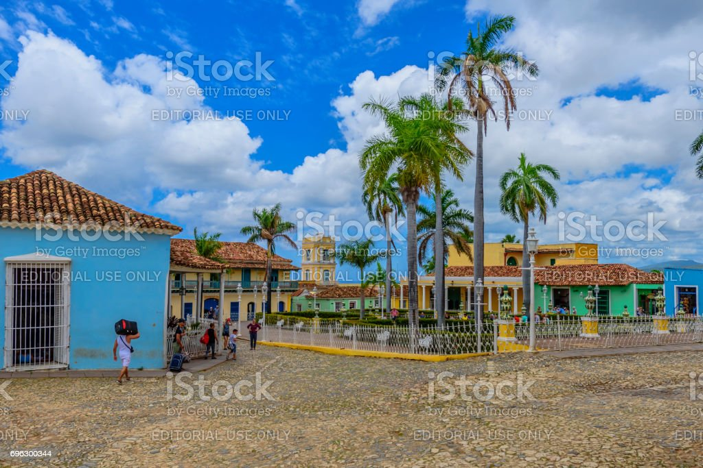 Placa Mayor, Trinidad with blue sky stock photo
