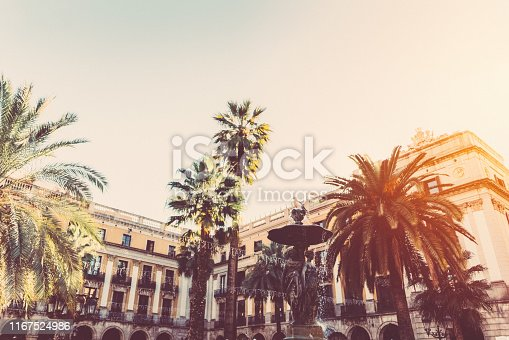 Sunset on Placa Reial in Barcelona