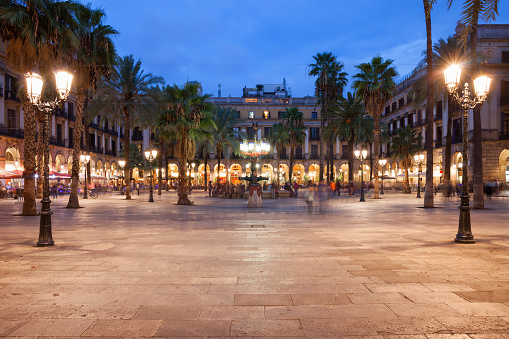 Placa Reial in Barcelona at Night