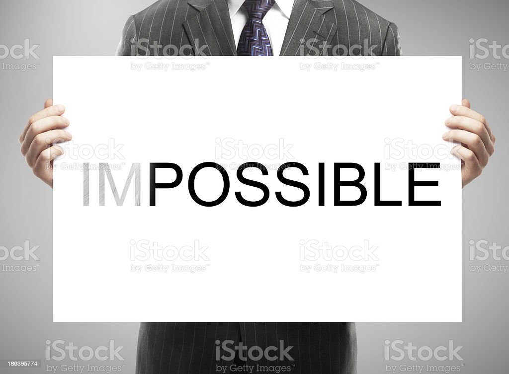 placard with impossible royalty-free stock photo