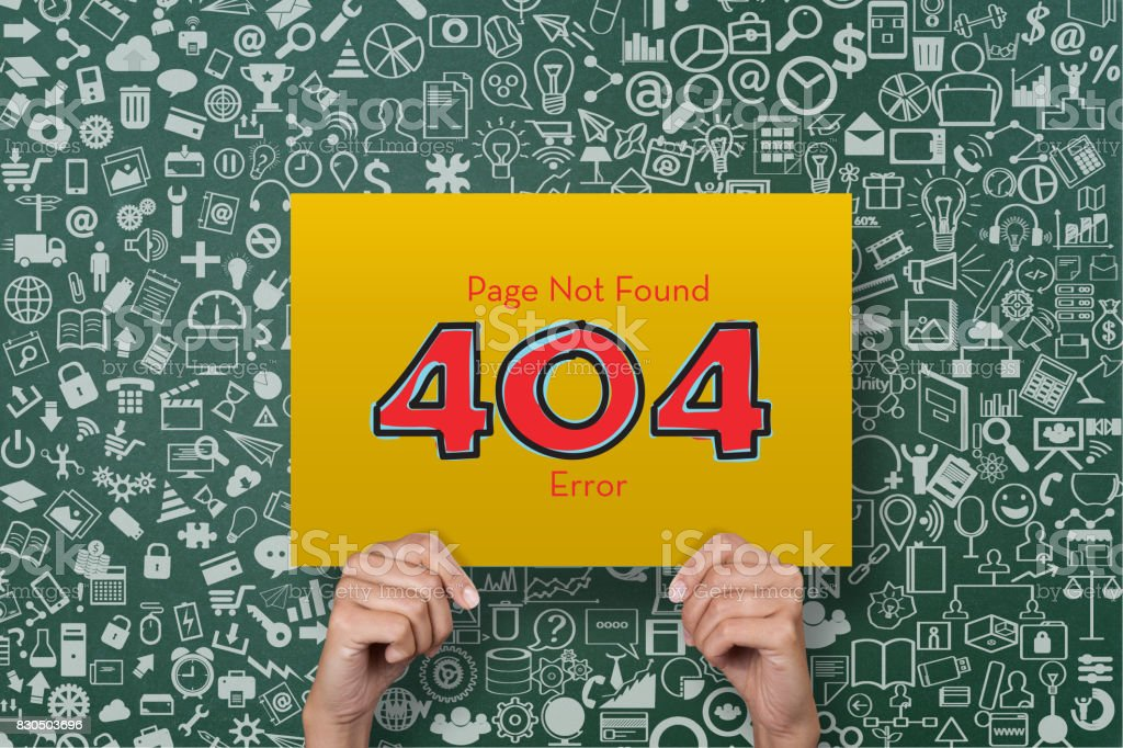 Placard with page not found error message stock photo