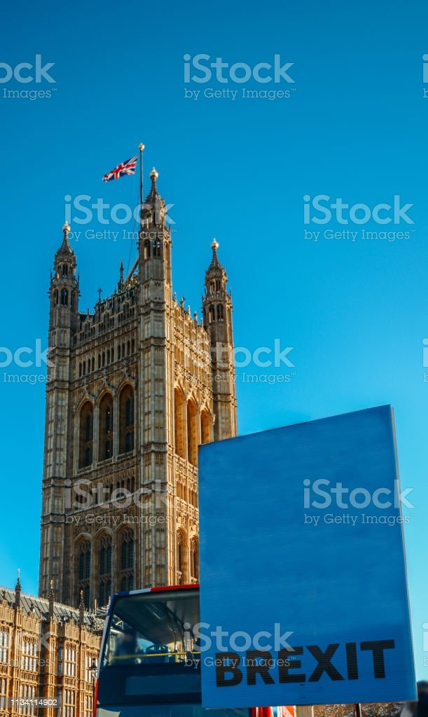 Placard with word Brexit written outside, Westminster, London, UK stock photo