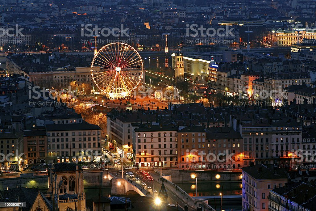 Place bellecour at night stock photo