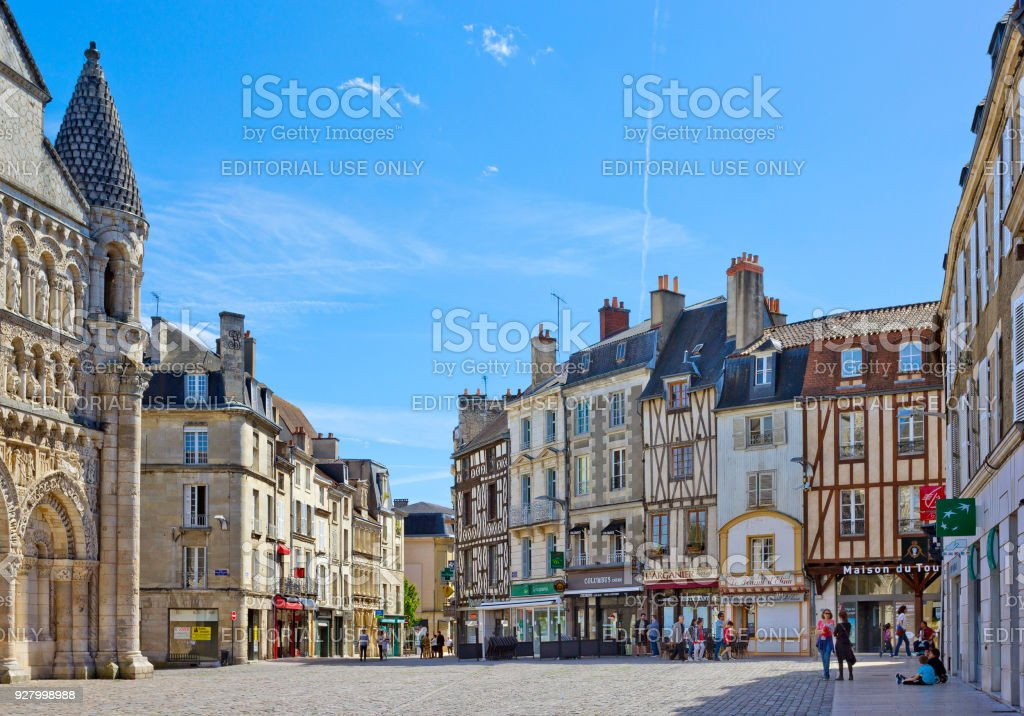 Place Charles de Gaulle with historical buildings in Poitiers, France stock photo