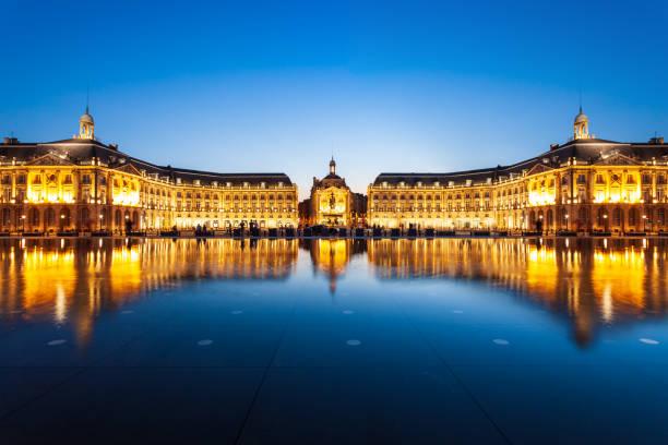 Place de la Bourse square, Bordeaux stock photo