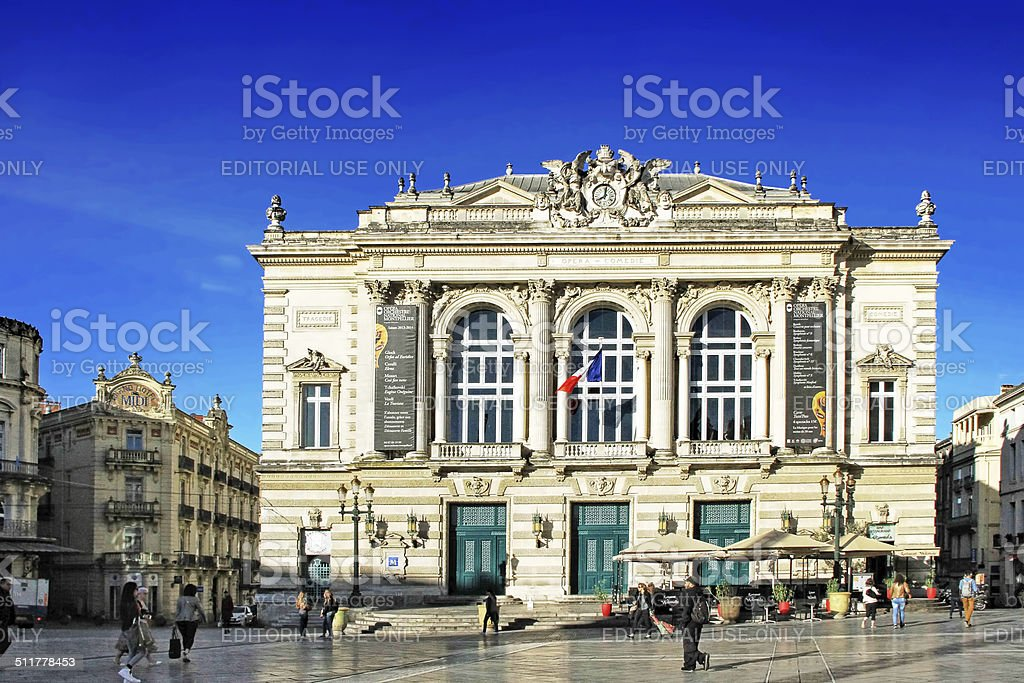 Place de la Comedie - Theater Square of Montpellier stock photo