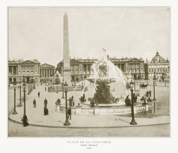 Place De La Concorde, Antique Paris Photograph, 1893 Antique Paris Photograph: Place De La Concorde, 1893. Source: Original edition from my own archives. Copyright has expired on this artwork. Digitally restored. 1890 stock pictures, royalty-free photos & images