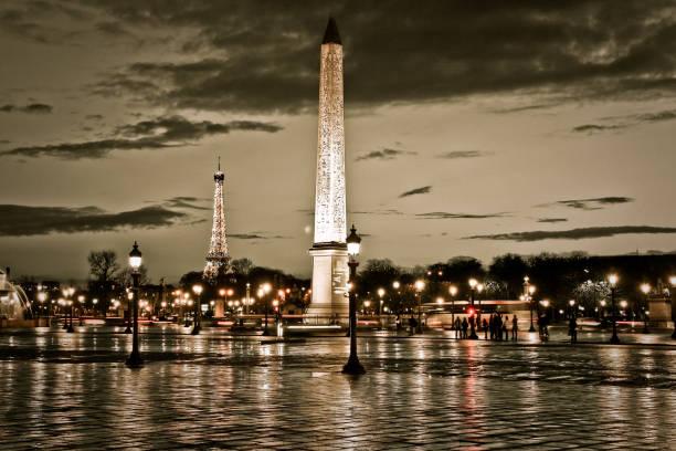 Place de la Concorde à Paris de nuit - Photo