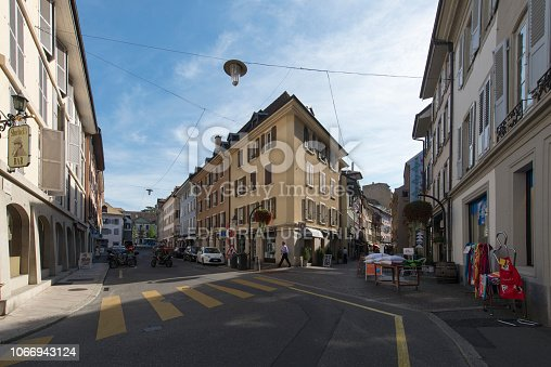Vevey/Switzerland - August 28 2015: Tourists in Place de l'Ancien-Port in Vevey, Switzerland. Vevey is a town in Switzerland in the canton Vaud, on the north shore of Lake Geneva.