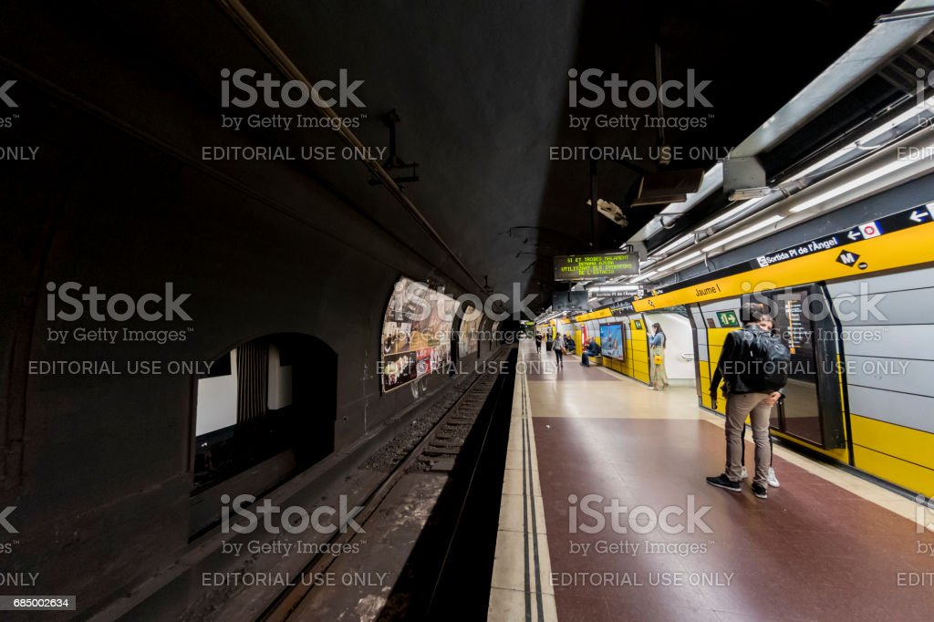 U-Bahn Station Place de l ' Angel in Barcelona Lizenzfreies stock-foto