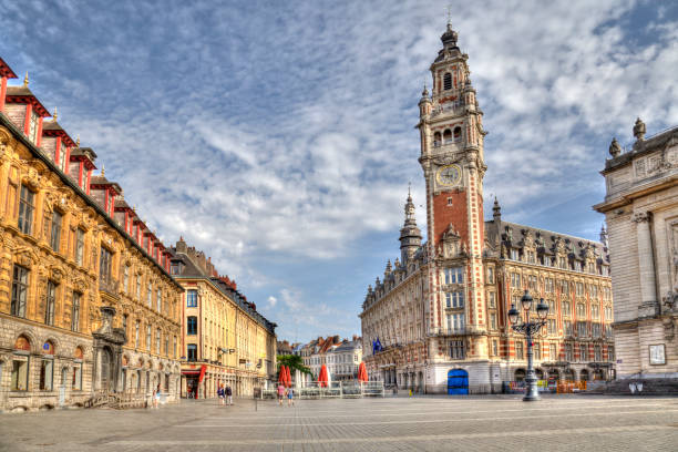 Place de Theatre in Lille, France stock photo
