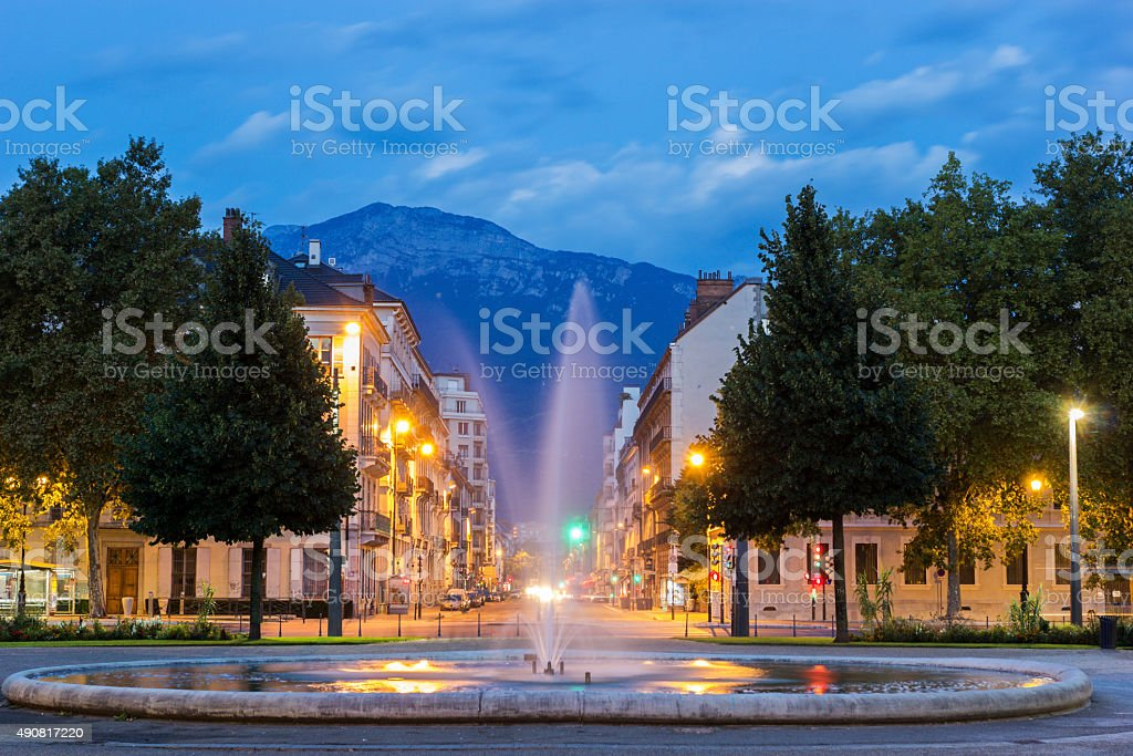 Place de Verdun with Grenoble-Library Museum in Grenoble, France stock photo