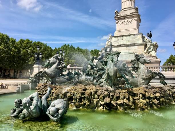 Place des Quinconces in Bordeaux France. stock photo