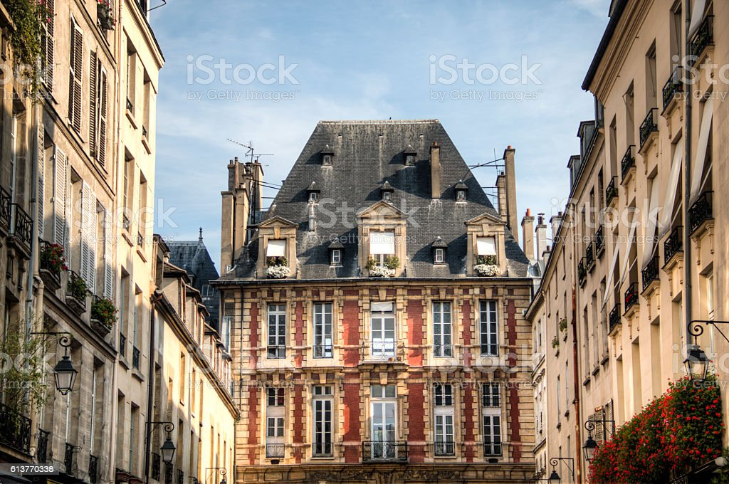 Place des Vosges in Paris, France stock photo