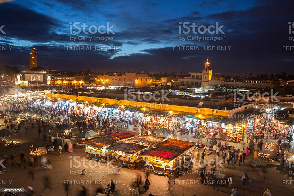 Place Djemâa el-Fna in Marrakech, Morocco, at twilight royalty-free stock photo