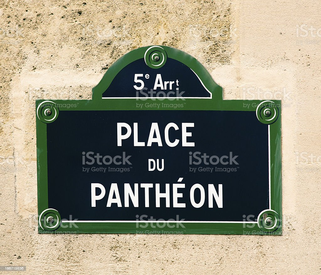 Place du Pantheon Paris Street Sign royalty-free stock photo