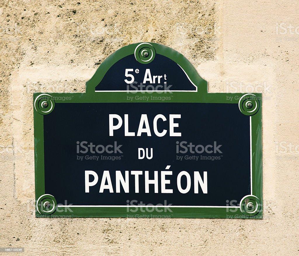 Place du Pantheon Paris Street Sign stock photo