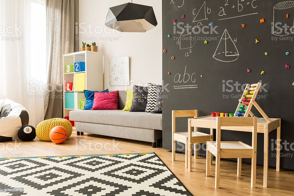 Place for learn and play Shot of a creative room for children with a place for play and learn Abacus Stock Photo